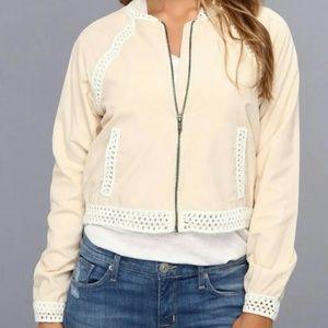 Free People Ivory Crochet Trim Zip Up Jacket